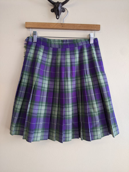 Green & Purple Tartan Plaid Kilt