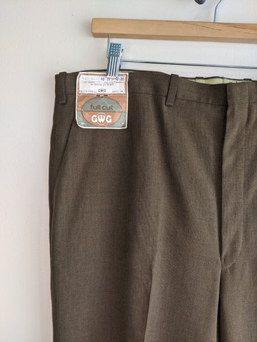 Deadstock Brown Polyester 70's Trousers