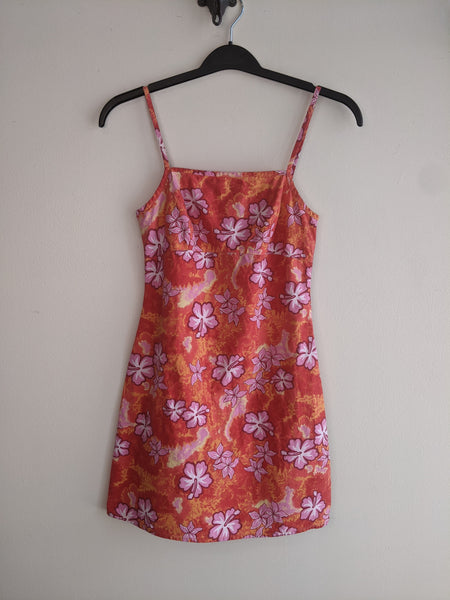 90's Orange & Pink Tropical Minidress