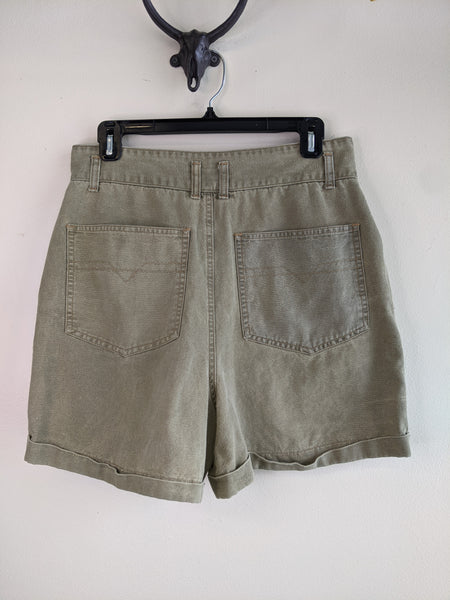 Sage Green High-Waisted Shorts