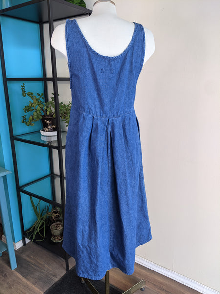 Sleeveless 90's Pinafore Denim Dress