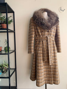 1970s Plus-Size Plaid Wool Coat