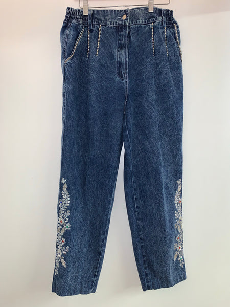 1980s JAZZINO stone wash matching sequinned denim set