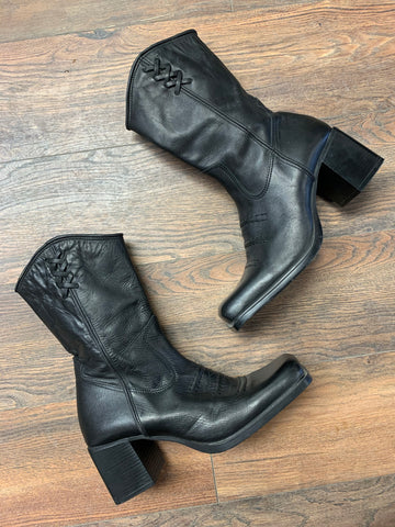 Killer Black Leather 90's Boots