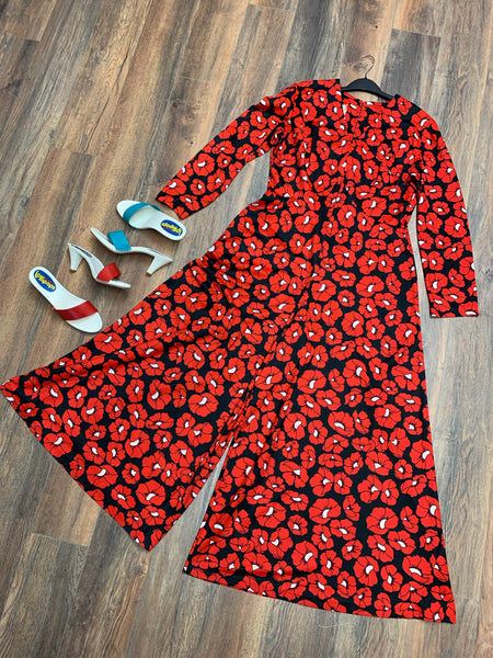 POPPY POWER 1970's allover poppy print wide leg jumpsuit