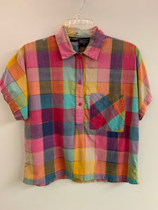 1980s Colourful Cotton Cropped Blouse