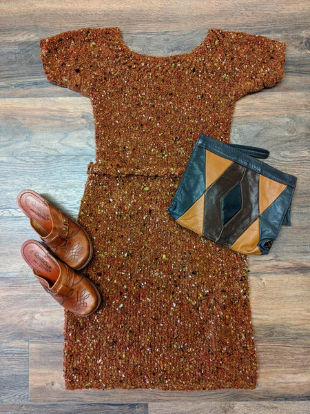 Incredible 1970s Hand-Knit Sweater Dress