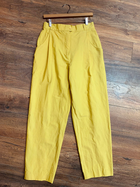 Sunshine Yellow High-Waisted Cotton Pants