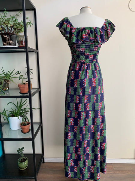 1970s ruffle-top maxi-dress