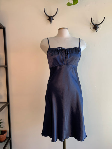 Midnight Blue Satin Slip Dress
