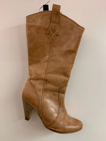 Tan Leather Cowgirl Boots