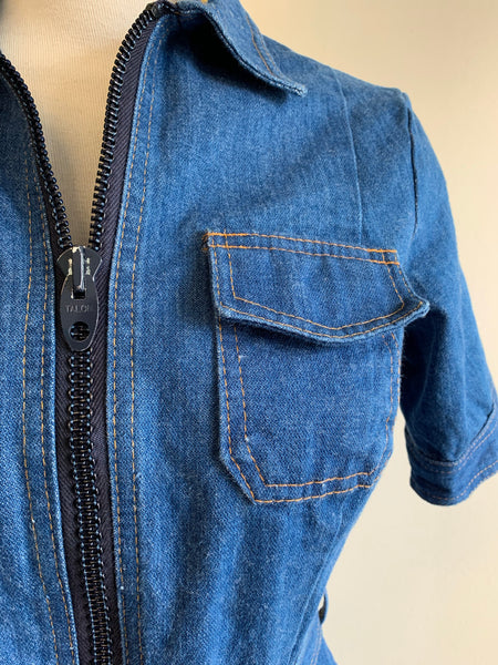 1970's Denim Shirt-Dress