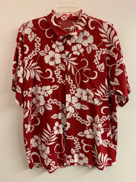 Red & White Hawaiian Button-Up