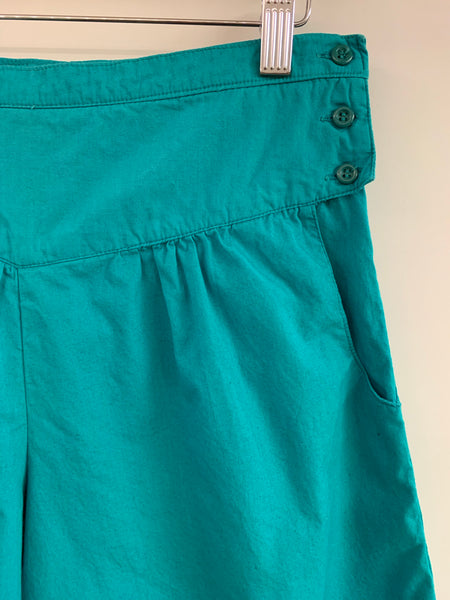 High-Waisted Teal Cotton Shorts