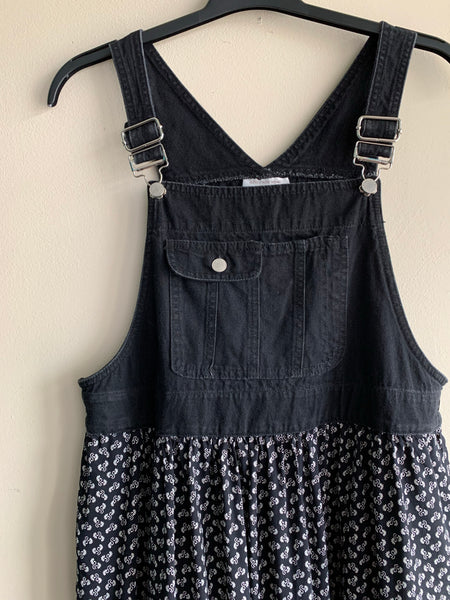 1990's Jones New York Black Denim Overall Dress