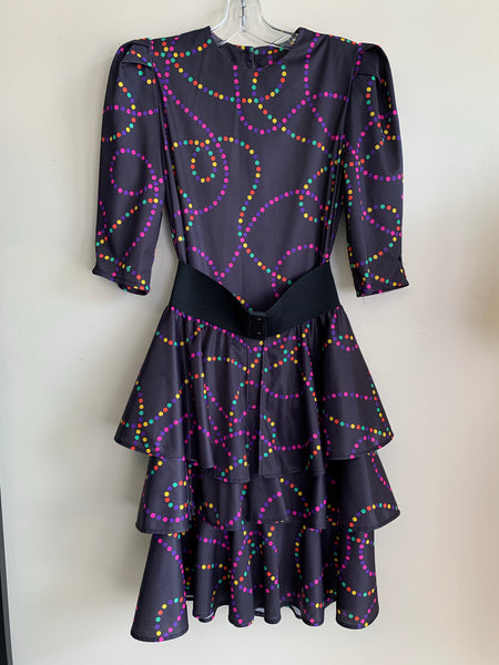 Rainbow Polka Dot 1980's Dress