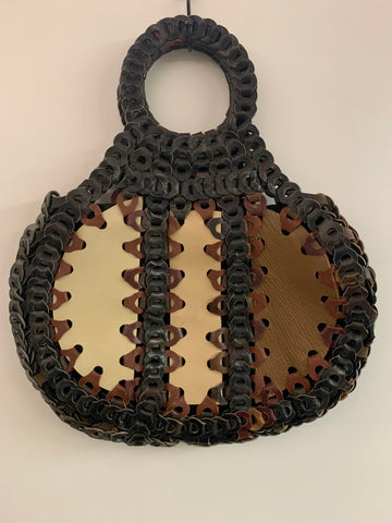 Looped leather 1970s bag