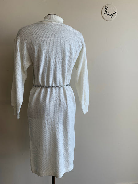 Slouchy White 80's Sweater Dress