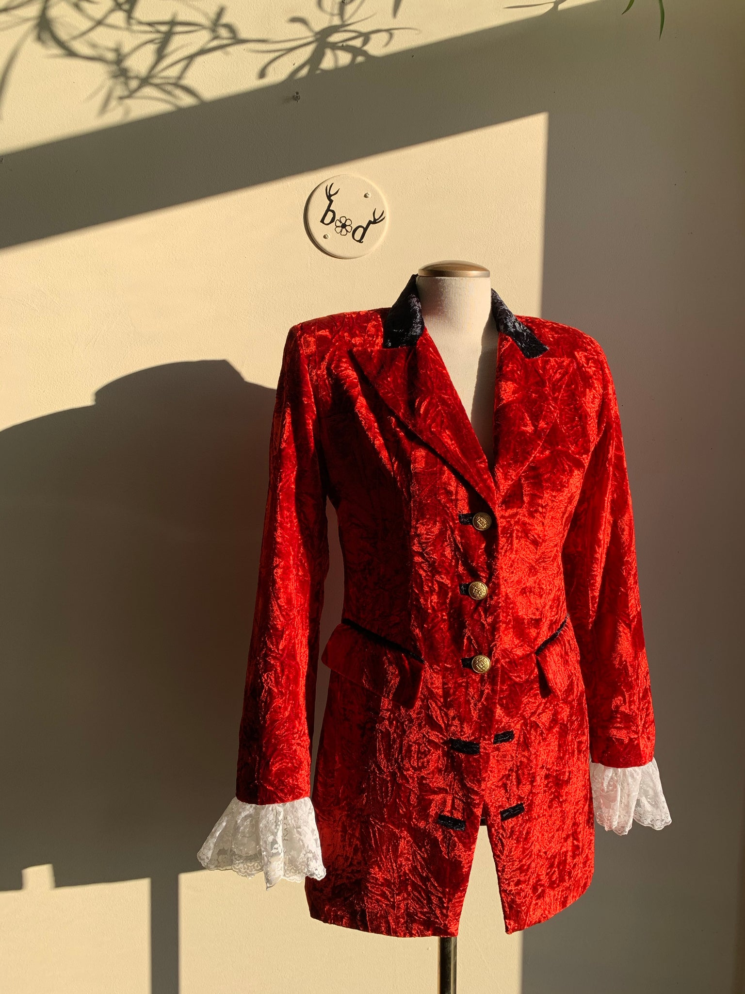 Le Chateau Red Crushed Velvet Blazer