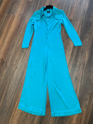 Electric Blue 1970's Bell Bottom Jumpsuit