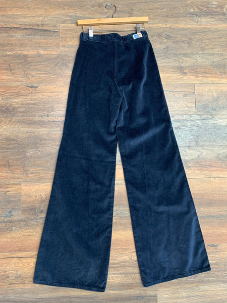 Great Scott Navy Blue Velour Bell Bottoms
