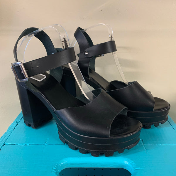 Top Shop Black Leather Chunky Sandals