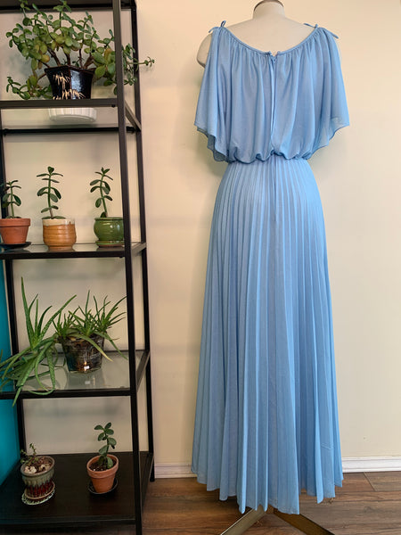 Baby Blue 70's Pleated Maxi-Dress
