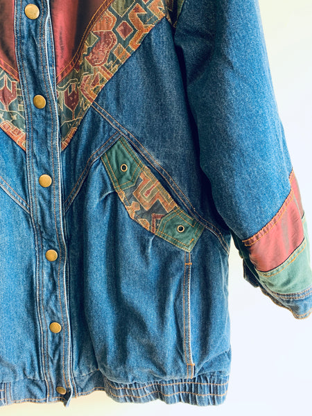 Amazing Long-Line Quilted Denim Jacket