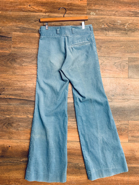 """Day's"" Baby Blue Corduroy Bell Bottoms"
