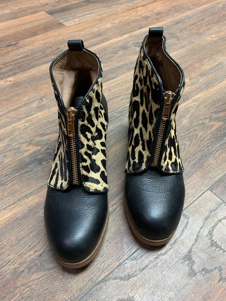 Yosi Samra Leopard Leather Booties