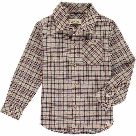 Beige Checkered Button Down Shirt | Me & Henry
