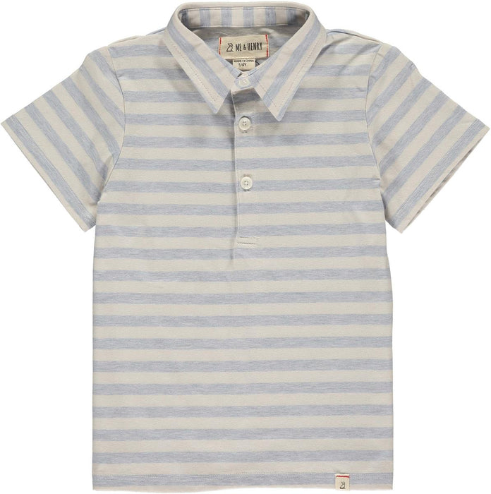 Blue & Cream Stripe Polo Tee | Me & Henry