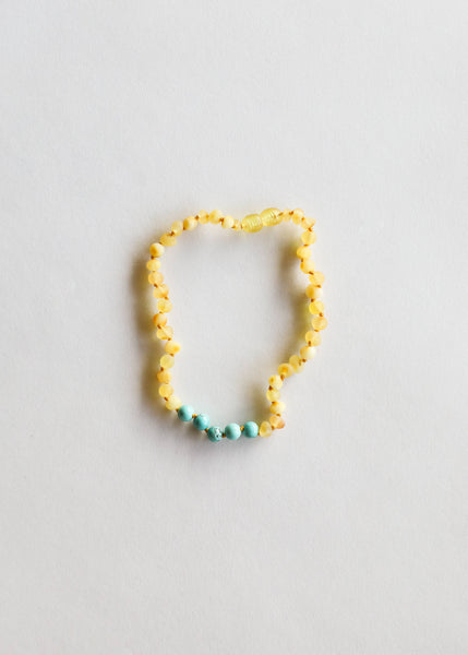 Raw Honey Amber & Turquoise Howlite Necklace | Canyon Leaf