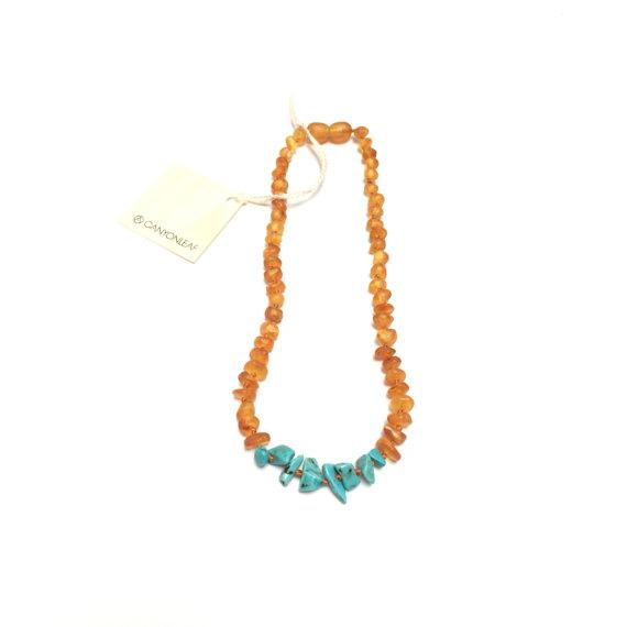CanyonLeaf - Raw Amber + Raw Turquoise Howlite || Necklace - Nature Baby Outfitter