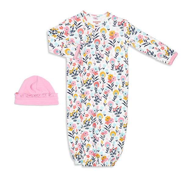 Sussex Floral Organic Cotton Magnetic Gown & Hat Set | Magnetic Me