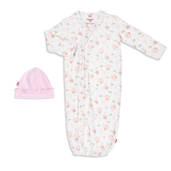 Nottingham Floral Organic Cotton Magnetic Gown & Hat Set | Magnetic Me