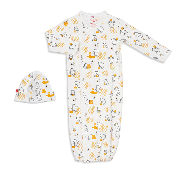 Honey Bee Mine Organic Cotton Magnetic Gown & Hat Set | Magnetic Me