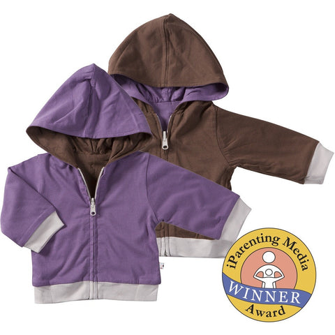 Purple and Brown Reversible Hoodie | Baby Soy - Nature Baby Outfitter