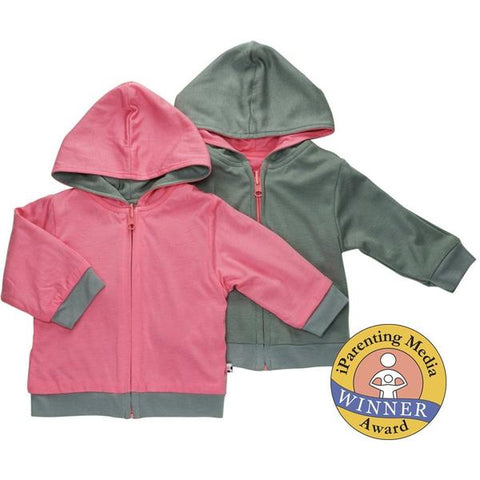 Pink and Teal and Charcoal Reversible Hoodie | Baby Soy - Nature Baby Outfitter