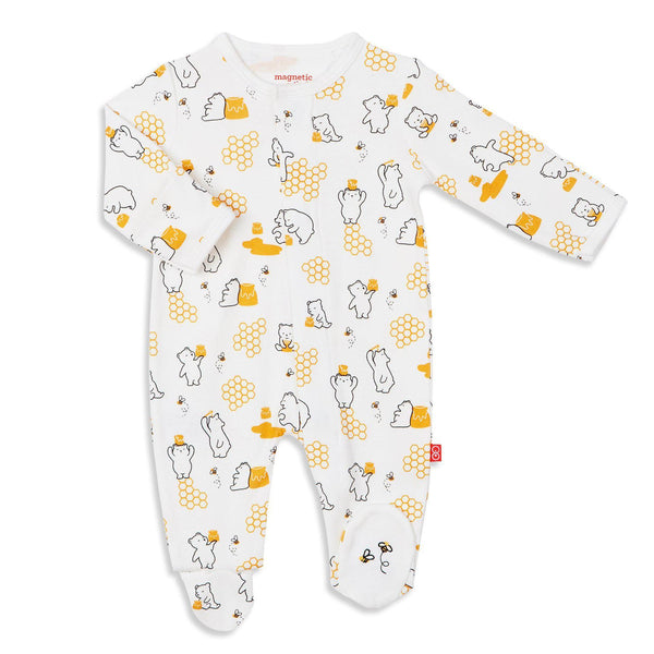 Honey Bee Mine Organic Cotton Magnetic Footies | Magnetic Me
