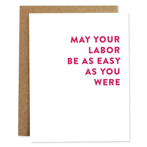 Easy Labor Baby Card | Rhubarb Paper Co.