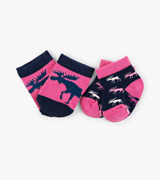Cottage Moose 2-Pack Baby Socks | Little Blue House by Hatley