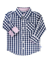Navy Gingham Button Down Shirt | Rugged Butts