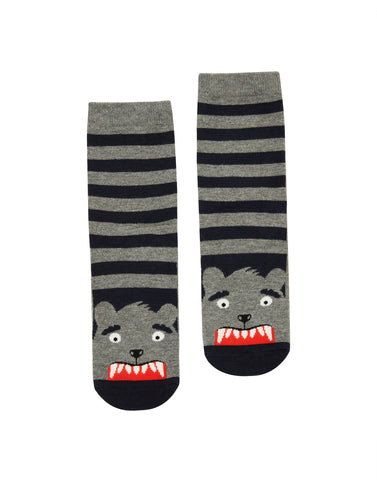 Gray Stripe Bear Neat Feet Socks | Joules