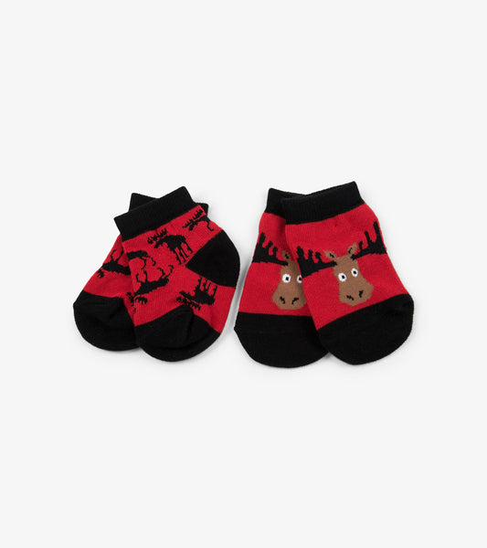 Moose on Red 2-Pack Baby Socks | Little Blue House by Hatley