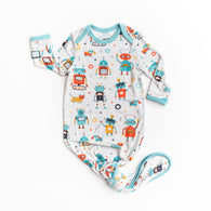 Robots Bamboo Infant Knotted Gown | Little Sleepies