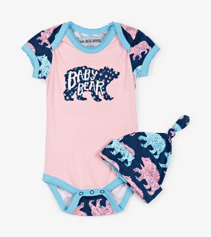 Cottage Bears Bodysuit & Hat | Little Blue House by Hatley