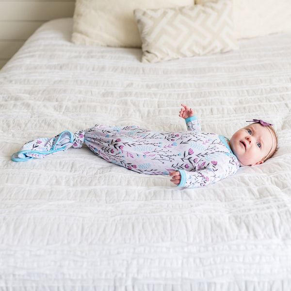 Wildflower Bamboo Infant Knotted Gown | Little Sleepies