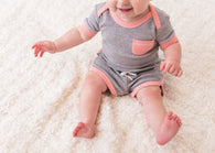 Coral Heather Track Shorts | lovedbaby - Nature Baby Outfitter