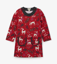 Red Mistletoe Deer Mod Dress | Hatley